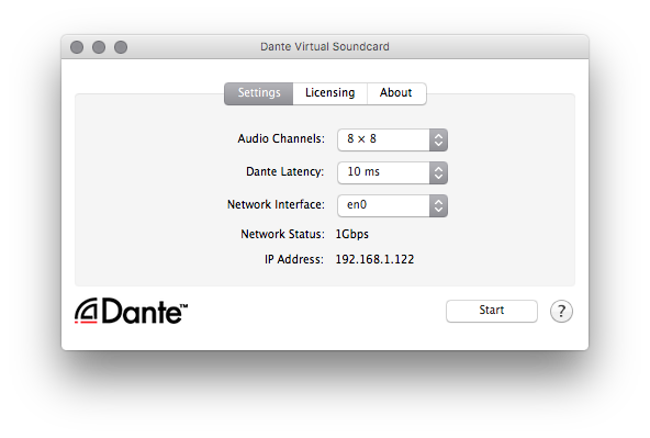 Click START in the Dante Virtual Soundcard. The number of audio channels and the device latency can only be modified when the DVS is stopped.