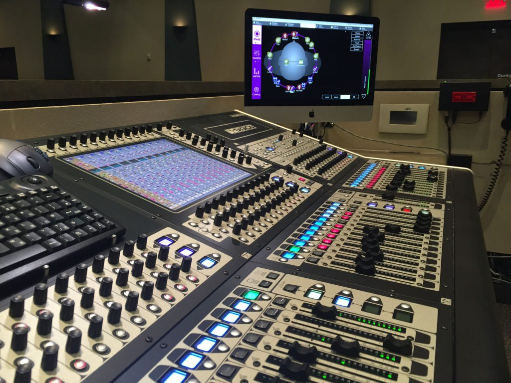 A view of the FOH mix position at SVCC's Gilbert campus showing the DiGiCo SD8 console and Mac displaying KLANG:app's