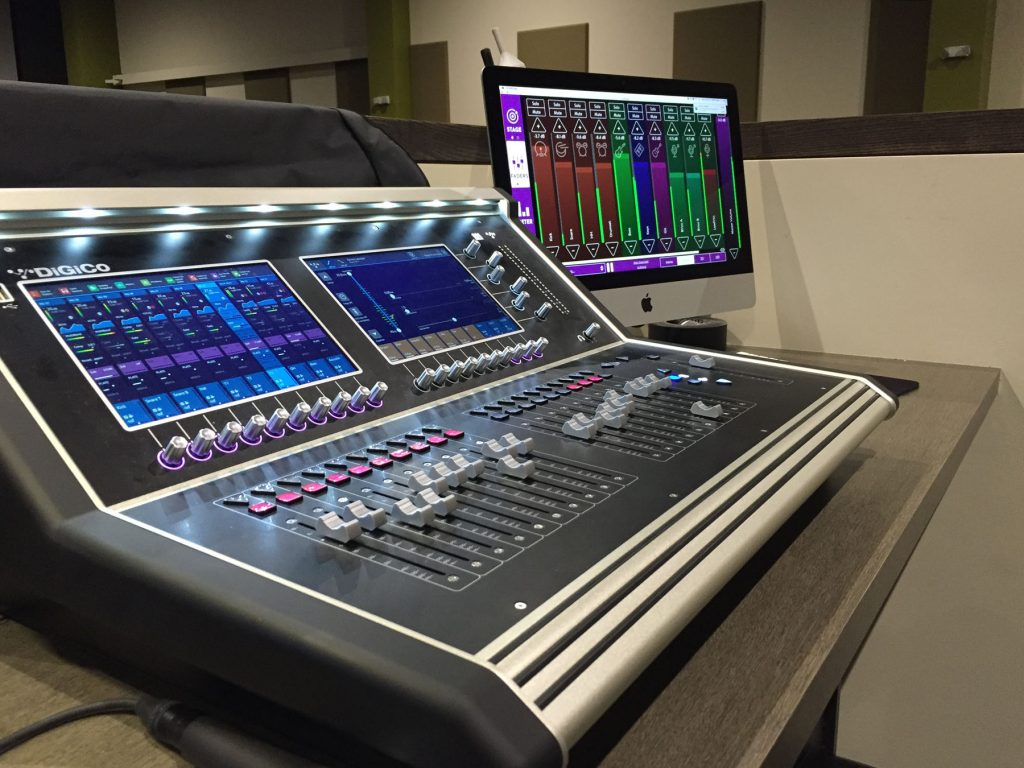 KLANG:app's FADERS menu displayed on a Mac next to the DiGiCo S21 desk at SVCC's Queen Creek location